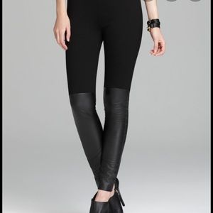 DKNY Real Leather Panel Medium Legging Black